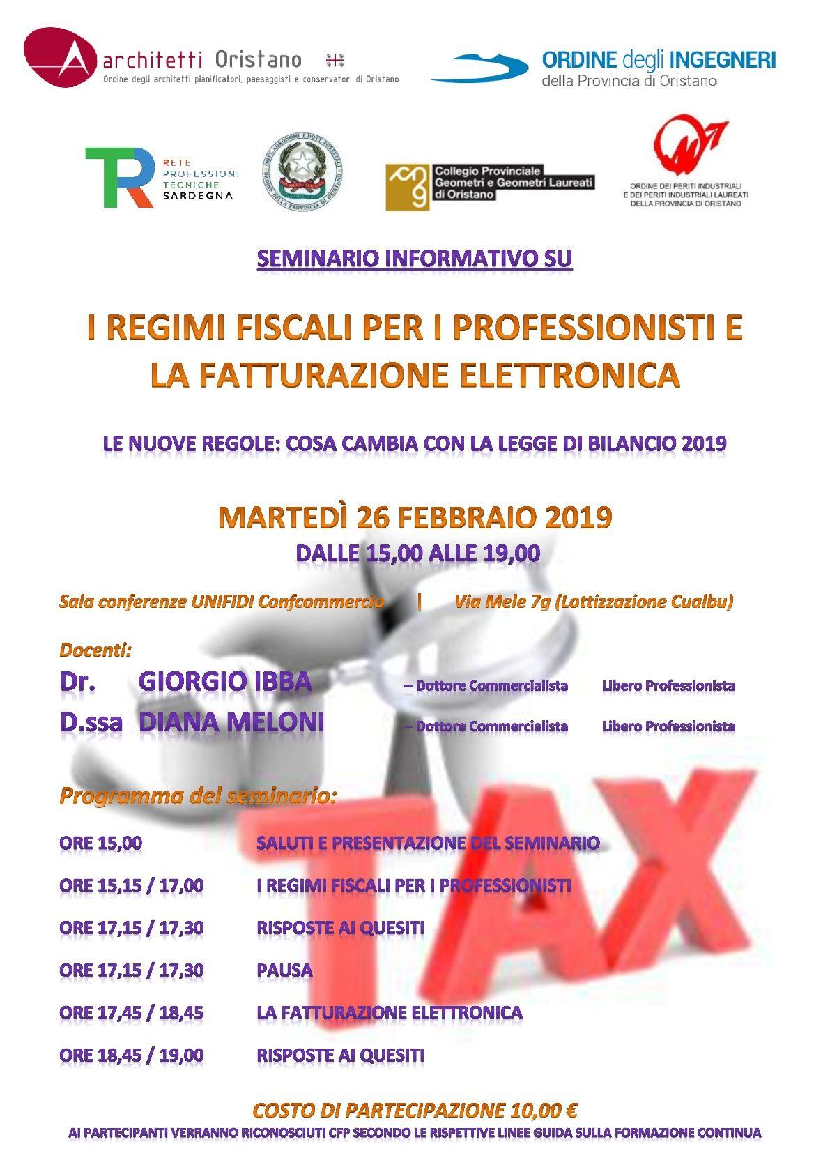 Oristano: seminario Regimi fiscali e la fatturazione elettronica 26/02/19