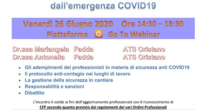 Seminario Responsabilità del Professionista nella gestione degli obblighi derivanti dall'emergenza COVID-19